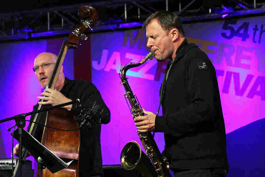 Chris Potter (right) performs with the Scott Colley Trio at the 2011 Monterey Jazz Festival.