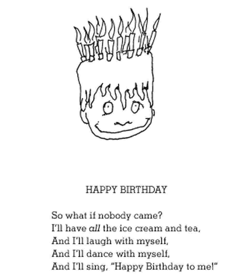 "Who says a party needs guests? The birthday boy in Shel Silverstein's poem resolves to laugh and dance by himself — and have ""all the ice cream at tea."""