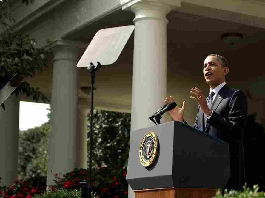 President Barack Obama speaking  today in the White House Rose Garden. He laid out his proposed federal deficit  reduction plan, with which he aims to reduce the federal deficit by more than $3  trillion dollars over the next decade.