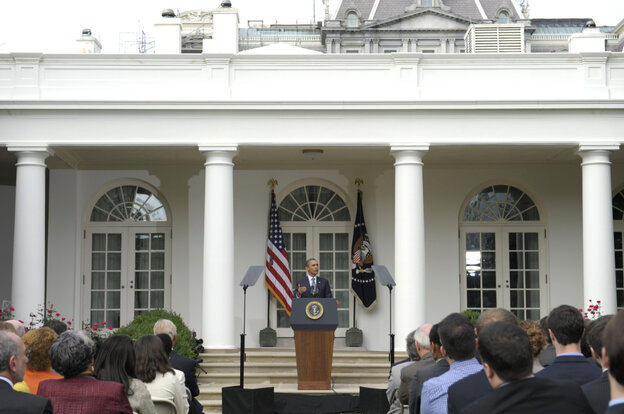 President Obama gives a White House Rose Garden speech on his deficit reduction plan. Sept. 19, 2011.