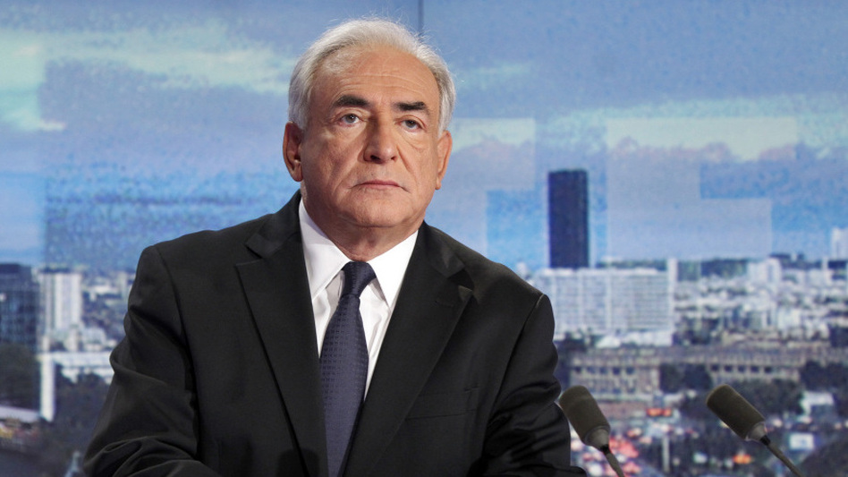 Dominique Strauss-Kahn in the studio of the French TV network TF1. (AFP/Getty Images)