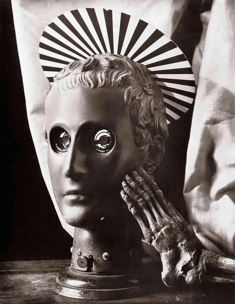 The Vienna Eye Phantom is a late-19th-century device used to teach medical students how to operate on the eye. Calves' eyeballs would be placed in the sockets as a substitute for human; a knob at the base was turned to set the small spikes to hold them in place.The Vienna Eye Phantom, Joel-Peter Witkin, 1990