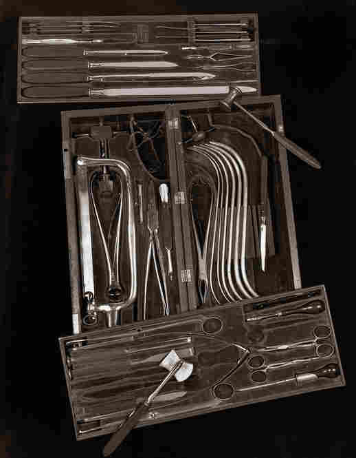 This Civil War surgical kit includes general surgical instruments for minor operations, such as scalpels, as well as large amputating knives, bone-cutting forceps, an amputating saw, a trephine, a chain saw and bullet forceps. An inscription says the set was given to Dr. C.T. Morton on March 17, 1863.Civil War Surgical Kit, Shelby Lee Adams, 1993