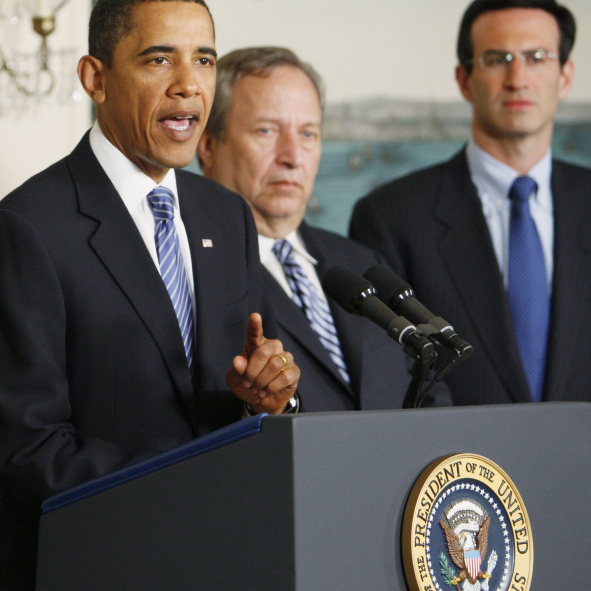 President Obama's first economic team included (from left) Treasury Secretary Timothy Geithner, National Economic Council Director Larry Summers and Budget Director Peter Orszag.