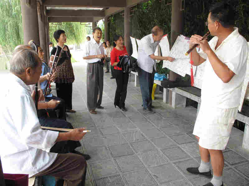 """Retirees in a Chaohu park play the song """"Chaohu Is Good"""" on the erhu, a traditional Chinese instrument. So far, opinions are split on whether dividing the city will be good for their future."""