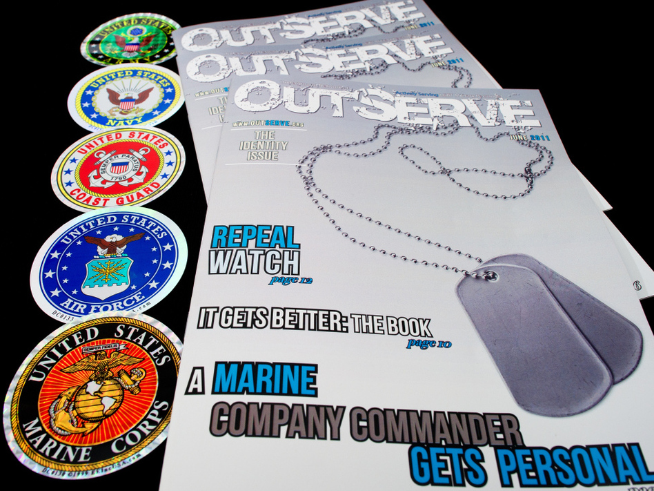 Copies of a new magazine called OutServe, intended for actively serving lesbian, gay, bisexual, and transgender members of the U.S. military. (AFP/Getty Images)