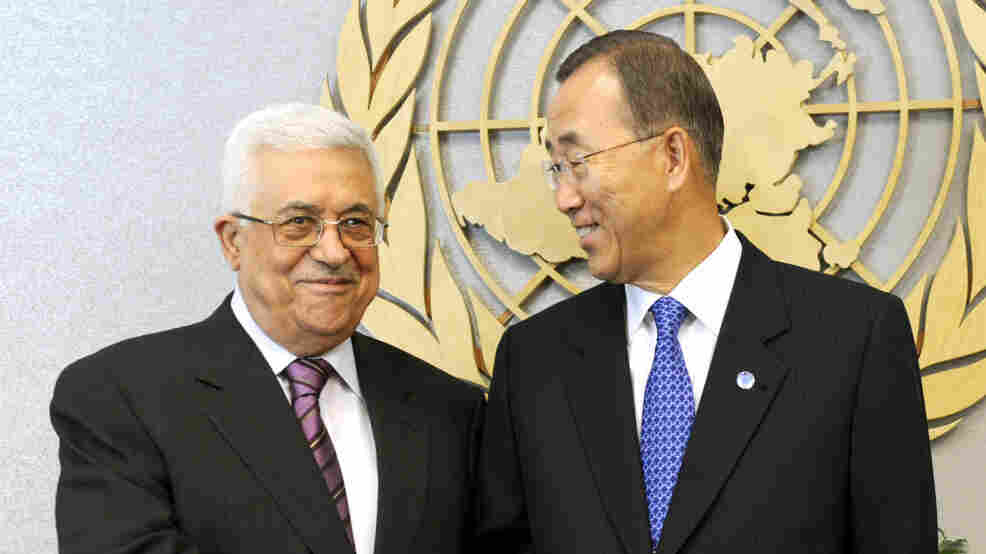 Palestinian Authority President Mahmoud Abbas (left) meets U.N.  Secretary-General Ban Ki-moon at the U.N. on Monday. Abbas says he will apply for Palestinian statehood after he addresses the General Assem