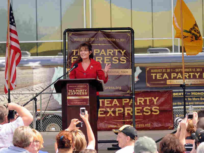 Former Alaska Gov. Sarah Palin speaks at a Tea Party Express rally at Veteran's Memorial Park in Manchester, N.H.