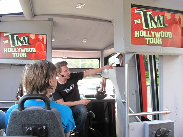 Tour guide Keith Jordan leads  several tours a day, and also appears on TMZ on TV. He moved to Los Angeles to be an  actor.
