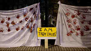 Visual expression of some of the sentiments in three songs about Troy Davis. This shot is from the steps of the Georgia Capitol building in Atlanta on Sept. 20.