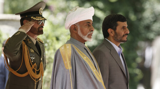 Omani Sultan Qaboos bin Said (center) was the first foreign ruler to visit Iran after the 2009 re-election of Iranian President Mahmoud Ahmadinejad (right).