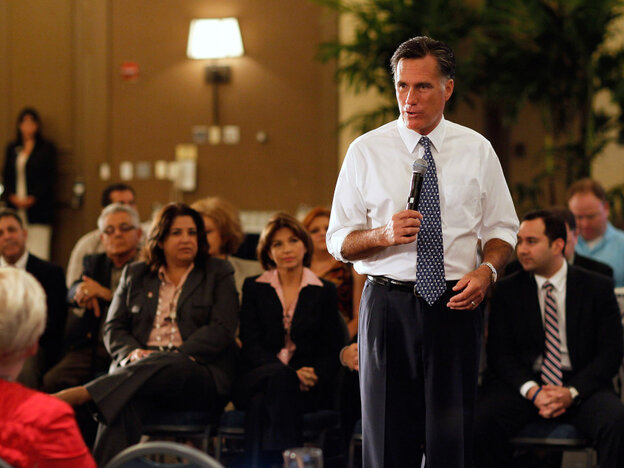 Mitt Romney at a town hall meeting in Miami, Fla. Sept. 21, 2011.