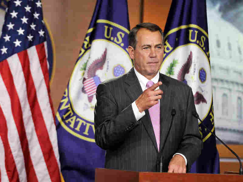 House Speaker John Boehner (R-OH) takes questions from the media during a briefing Thursday on Capitol Hill.