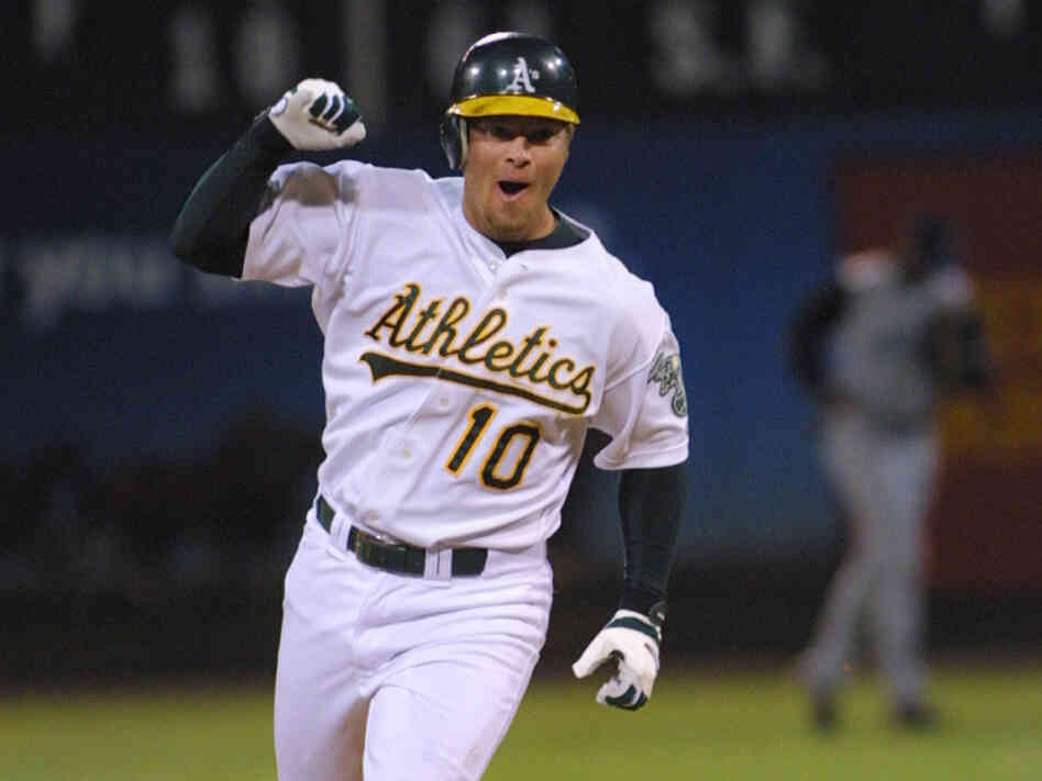 Oakland Athletics' first basemen Scott Hatteberg is one of the people profiled in Michael Lewis' 2003 book Moneyball.