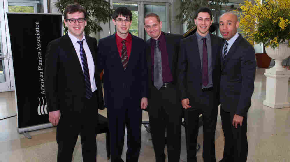 The finalists for the 2011 Cole Porter Fellowship. L-R: Zach Lapidus, Glenn Zaleski, Jeremy Siskind, Emmet Cohen, Aaron Diehl.