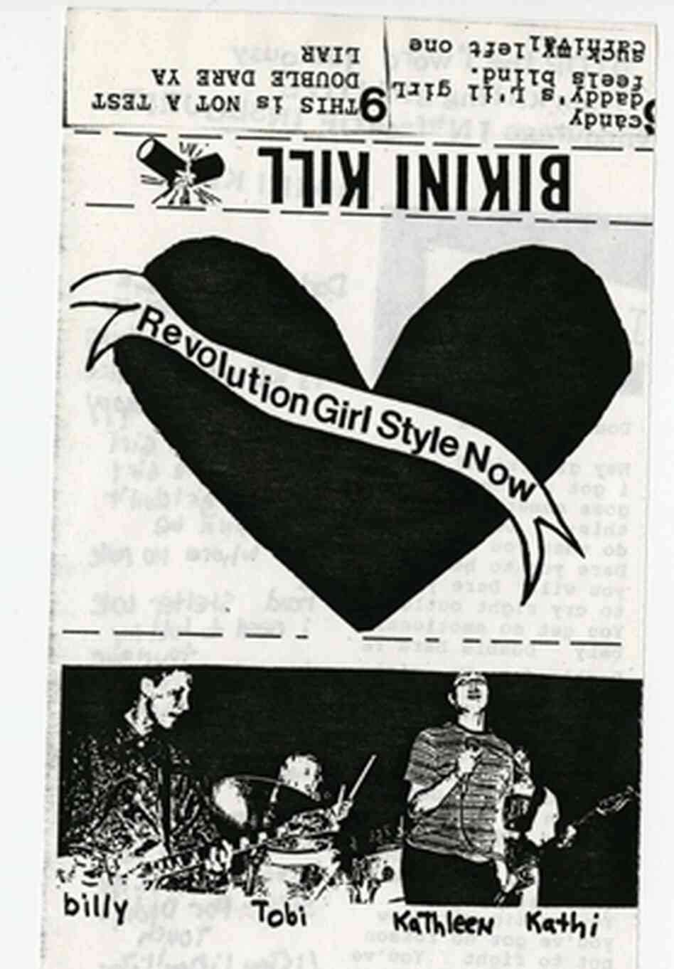 The cassette cover of Bikini Kill's Revolution Girl Style Now. [NOTE: Enlargement contains lyrics that include profanity.]