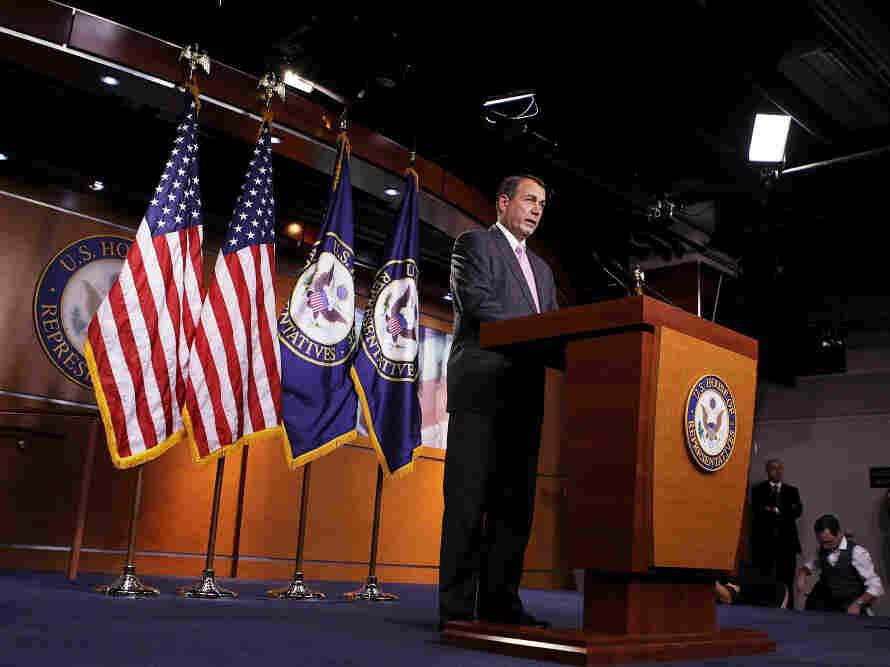House Speaker John Boehner speaks to journalists, Sept. 22, 2011.