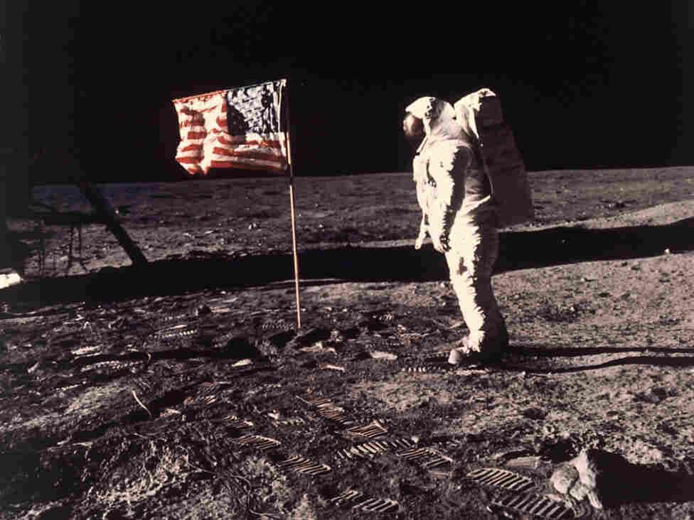 """July 20, 1969: astronaut Edwin E. """"Buzz"""" Aldrin Jr.  on the moon."""