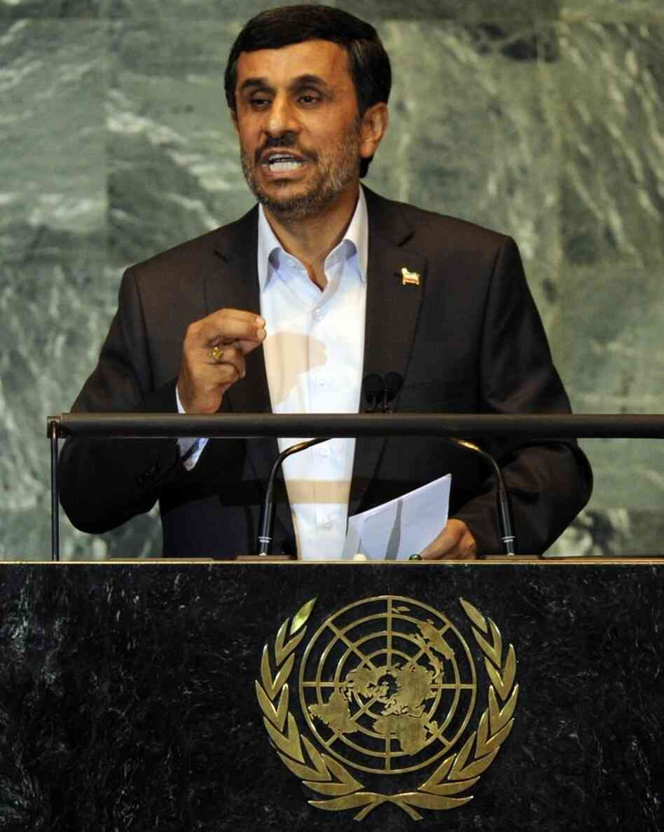 Iranian President Mahmoud Ahmadinejad at the U.N. today.