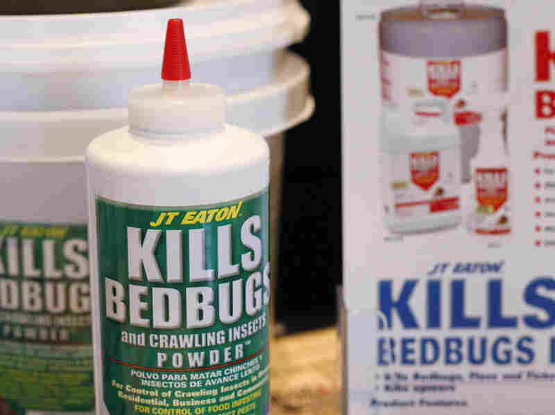 Bedbug insecticide products are displayed at a bedbug sum