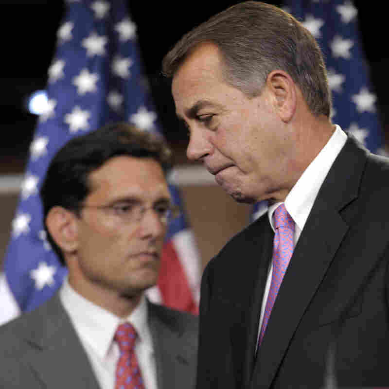 Speaker John Boehner (r) with House Majority Leader Eric Cantor, Sept. 23, 2011.