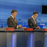Republican presidential candidates at Fox News/Google debate in Orlando, Fla., Sept. 22, 2011.