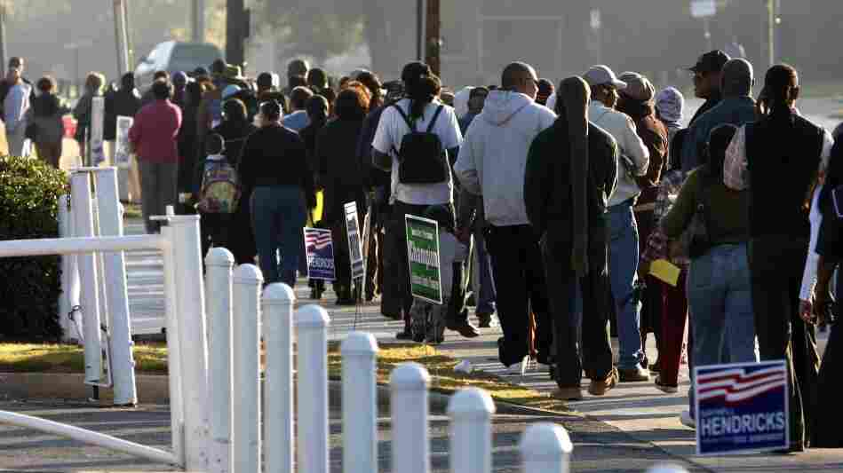 Voters waited in long lines in Birmingham, Ala., to cast their ballots in the 2008 presidential elections. But next year, the lines across the country may be longer as state election offices face budget cuts.