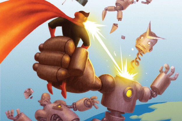Awesome Man, the creation of author Michael Chabon and illustrator Jake Parker, can shoot positronic rays out of his eyeballs. Click here to read an excerpt of The Astonishing Secret of Awesome Man.