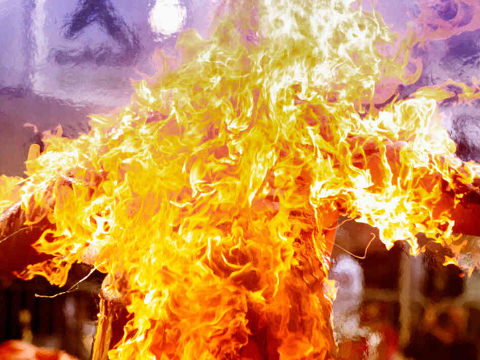 No so spontaneous: A stuntman burns during a controlled stunt in Ontario.