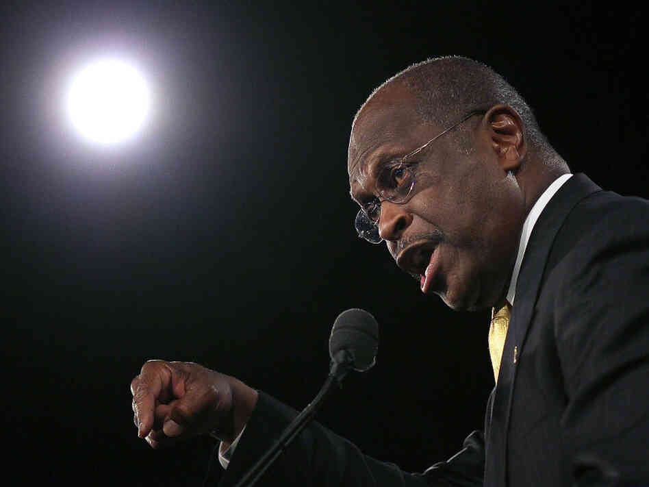 Republican presidential candidate Herman Cain speaks before Florida's straw poll at the Orange County Convention Center in Orland
