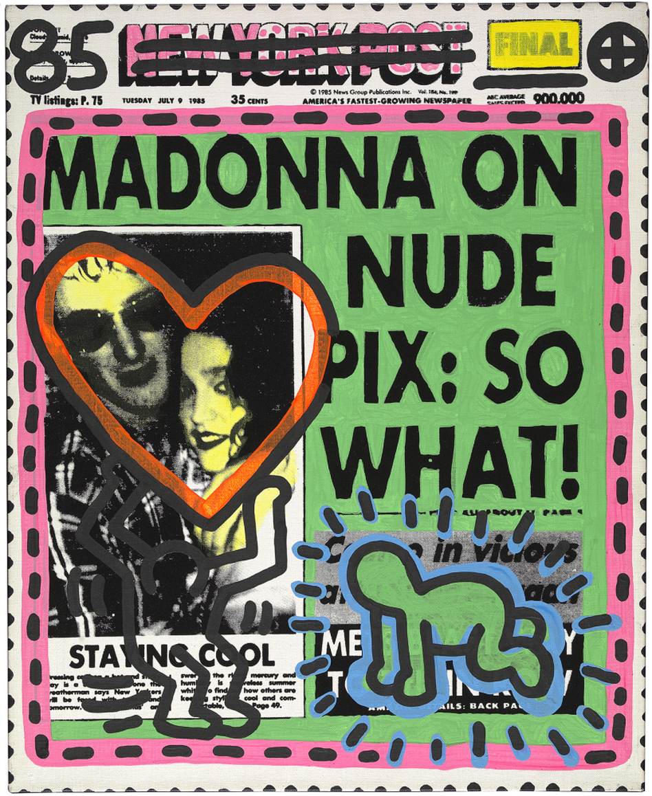 By 1985, Warhol's style had evolved substantially; on this untitled headline piece, he collaborated with Keith Haring.
