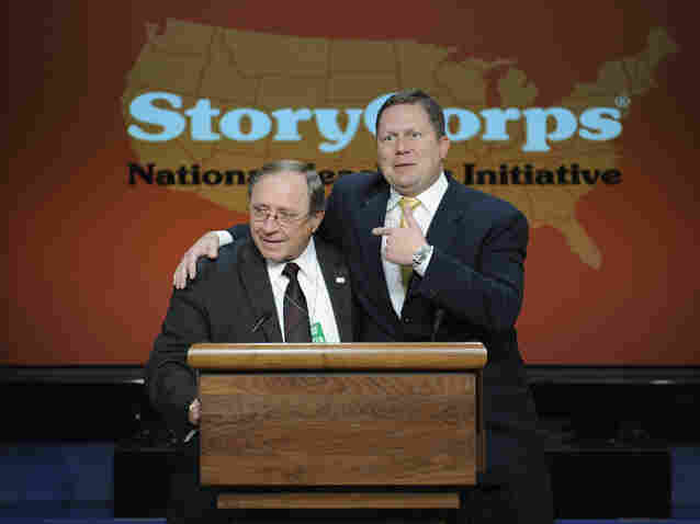 Al Siedlecki (left) and Lee Buono speak at the launch of StoryCorps' National Teachers Initiative at the  White House.