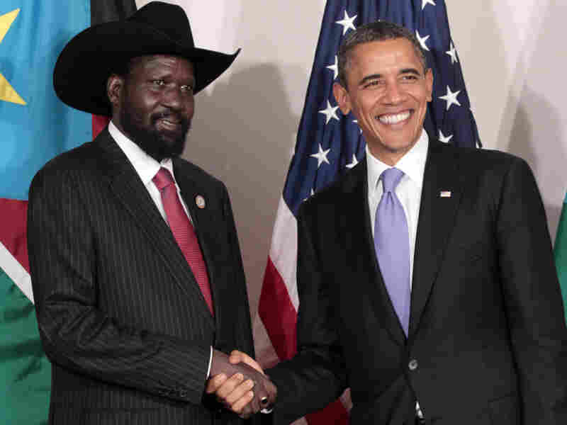President Obama shakes hands with the South Sudanese President Salva Kiir in New York last week. Obama offered U.S. support for what will be a major development program in the new nation.