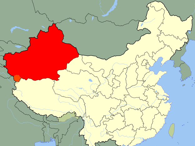 The first confirmed reports of polio in China since 1999 have cropped up in the Xinjiang Uyghur Autonomous Region (in red). (Wikimedia Commons)