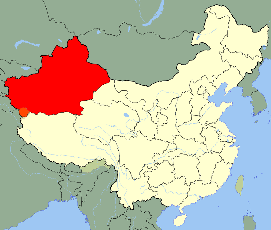 The first confirmed reports of polio in China since 1999 have cropped up in the Xinjiang Uyghur Autonomous Region (in red).