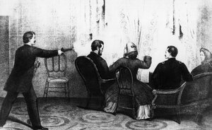 A lithograph depicts the assassination of Abraham Lincoln, who was shot by John Wilkes Booth in Ford's Theatre in 1865. Lincoln's death is the subject of a new book by Fox News host Bill O'Reilly.