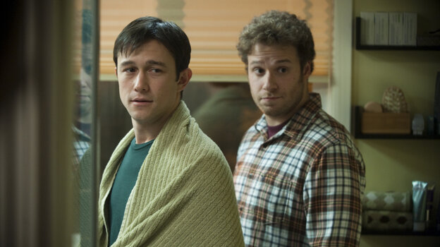 In 50/50, Joseph Gordon-Levitt plays Adam, a public radio host stricken with cancer who enlists his best friend, played by Seth Rogen, for moral and physical support.