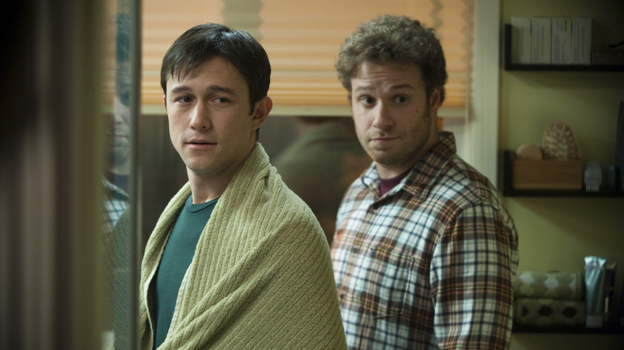 In 50/50, Joseph Gordon-Levitt plays Adam, a public radio host stricken with cancer who enlists his best friend, played by Seth Rogen, for moral and physical support. (Summit Publicity)