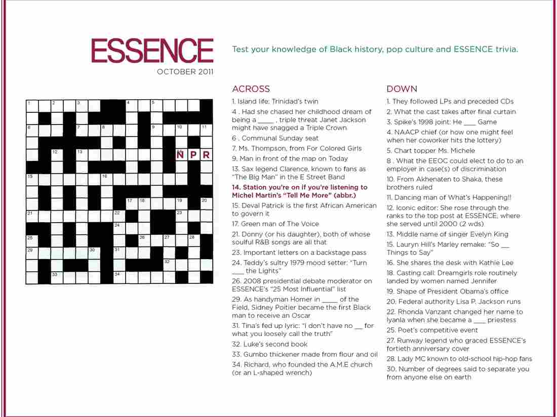 NPR's Tell Me More is featured in the October issue of Essence magazine as a crossword puzzle clue