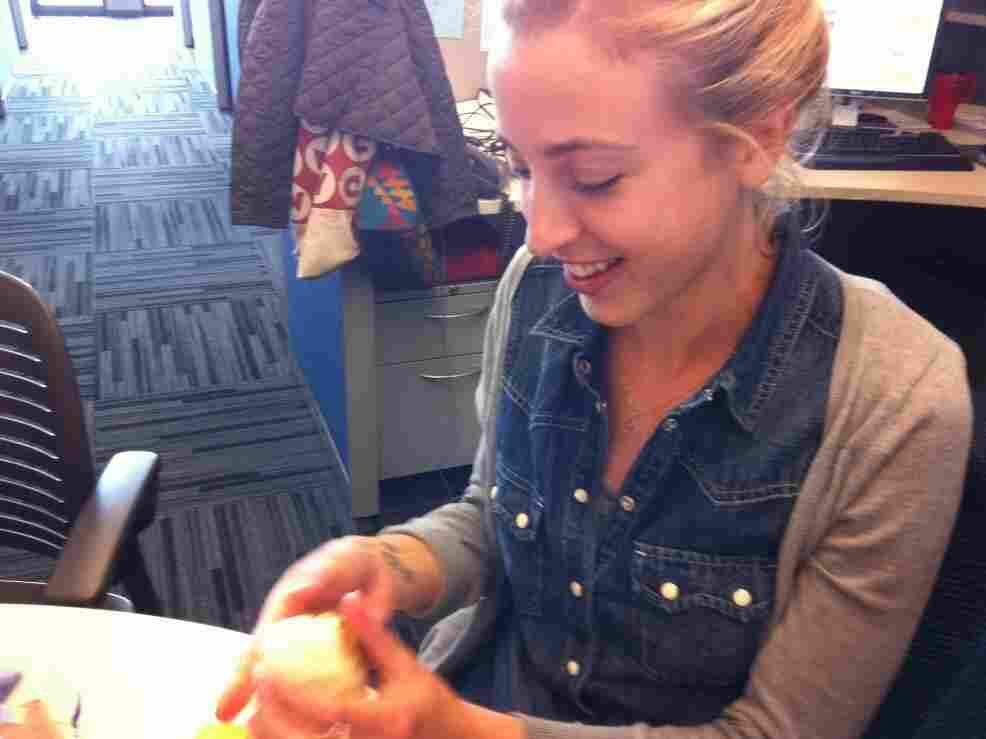 Eva sculpts the mysterious Doritos Sandwich Ball.