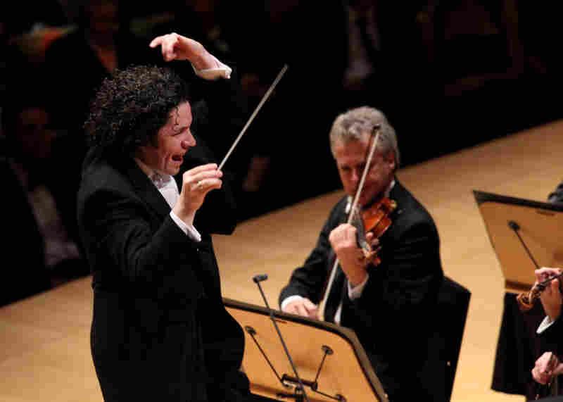LA Philharmonic music director Gustavo Dudamel at work on the podium.