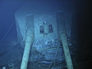 A gun turret on the sunken Australian warship HMAS Sydney. All 645 people aboard the Sydney died.