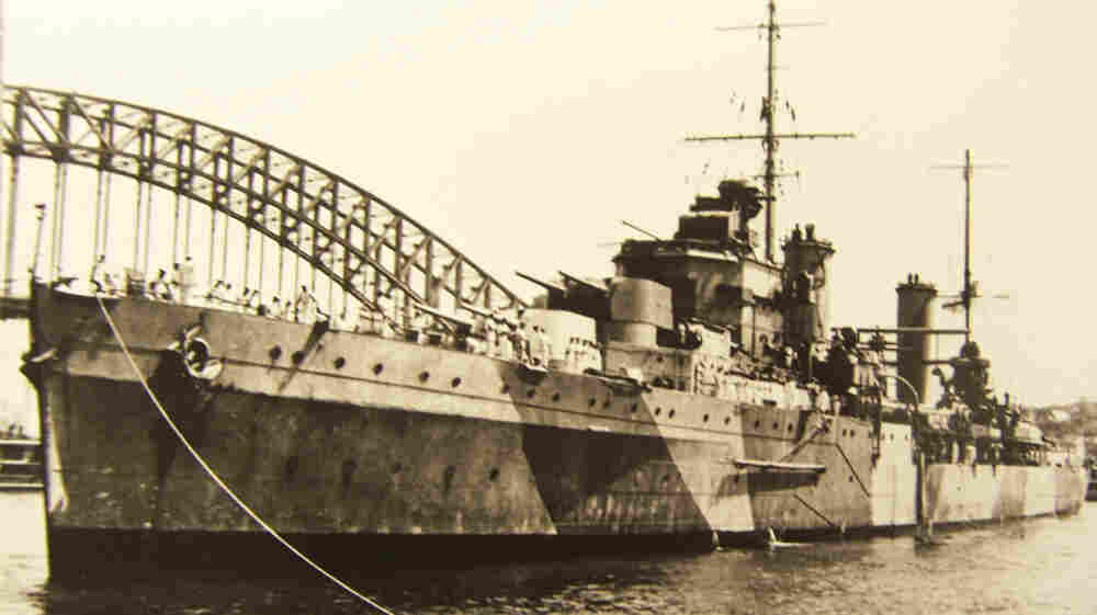 The Australian warship HMAS Sydney is anchored in Sydney Harbor in this undated photograph. The ship sank in November 1941 afte