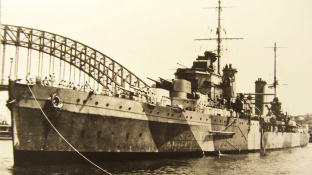 The Australian warship HMAS Sydney is anchored in Sydney Harbor in this undated photograph. The ship sank in November 1941 after a battle with a German vessel. Despite extensive search efforts, the boats were not found until 2008.