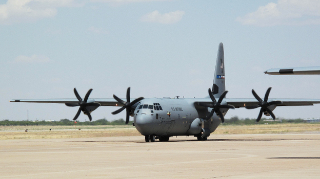 This C-130 is just one of a growing  list of military aircraft that have successfully flown on a 50 percent blend of jet biofuel. Half of the fuel powering this plane at Dyess Air Force Base in Abilene, Texas, is made from a weedlike plant called camelina.