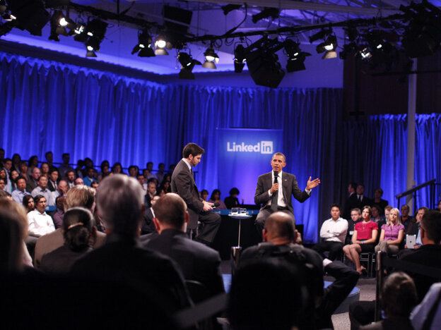 President Obama and Linkedin Corp CEO Jeff Weiner at a town hall meeting at the Computer History Museum, Mountain View, Ca.