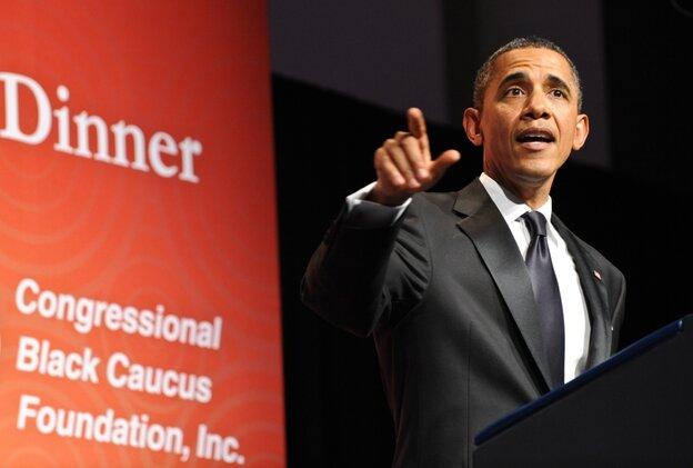 President Obama addresses a Congressional Black Caucus Foundation dinner, Sept. 24, 2011.