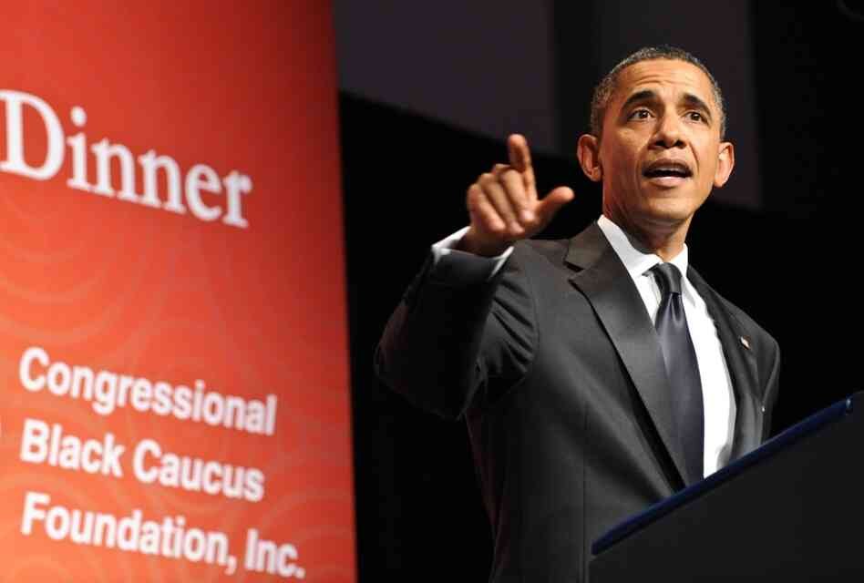 President Obama addresses a Congressional Black Caucus Foundation dinner, Sept. 24, 2011.