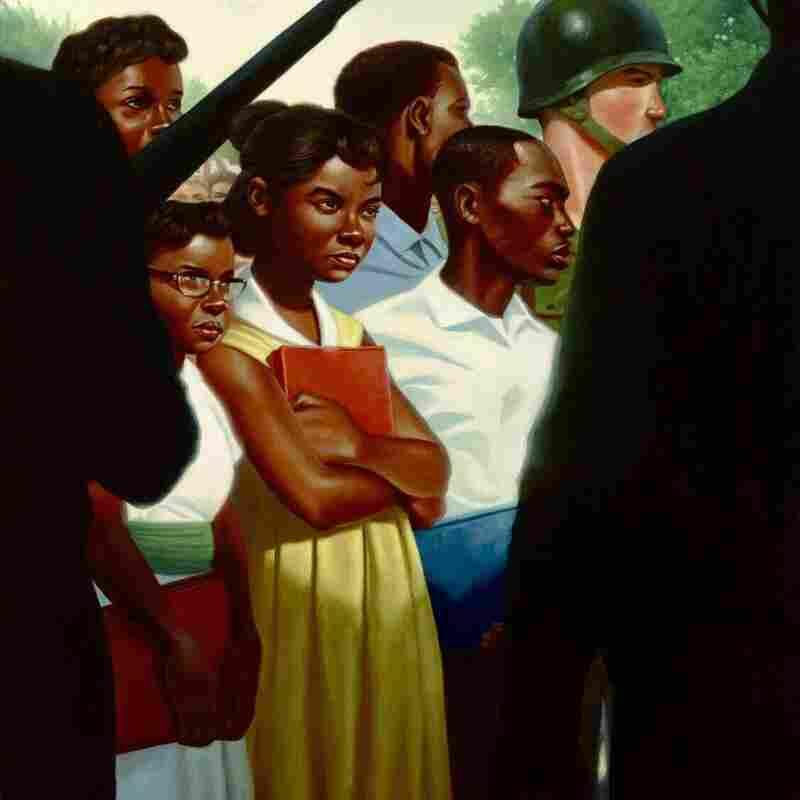 Nelson creates complex shadows to heighten the drama of his image of schoolchildren.