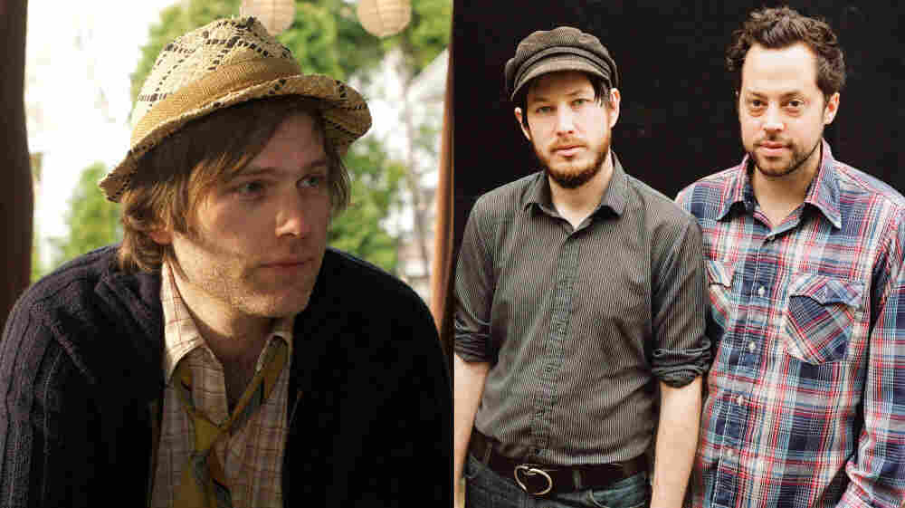 Eric D. Johnson of Fruit Bats (left) and Vetiver (right) teamed up for a joint session of World Cafe.